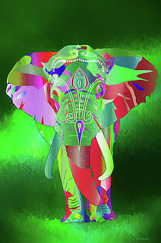Elephant in the Northern Lights - Painting by Ericamaxine Price