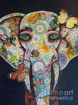 Elephant Mixed Media 1 by Reina Cottier