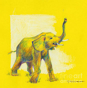 Elephant on Gold by Cheryl Emerson Adams