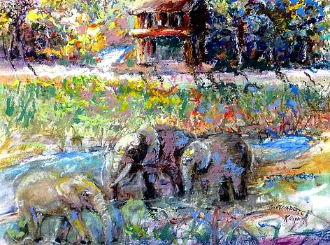 Elephants at Watering Hole by Bernadette Krupa