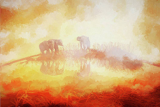 Elephants in the Mist - Painting by Ericamaxine Price