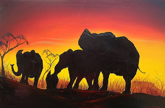 Elephants Of The Congo At Sunset by Portland Art Creations
