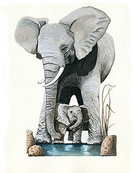 Elephants - Protect our Children wildlife painting by Linda Apple