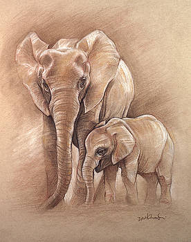 Elephants - Wildlife Drawing by Dave Kobrenski