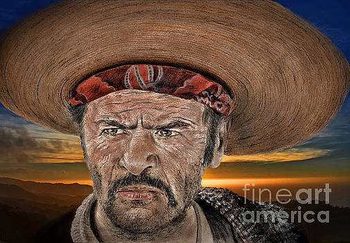 Eli Wallach as Tuco in The Good the Bad and the Ugly at Sunset by Jim Fitzpatrick