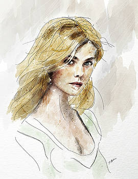 Eliannah Study In Watercolor by Gary Bodnar