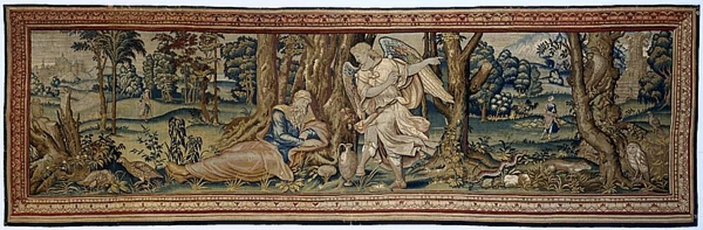 Textile tapestry Elijah and the angel by R Muirhead Art