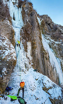 Elijah Weber climbing Lower Falls Right rated WI4 Near Shoshone  by Elijah Weber