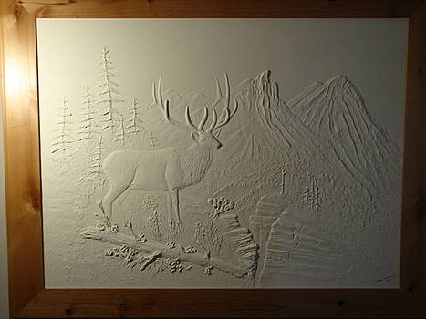 Elk and Mountains by Stacey Mitchell