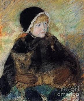 Cassatt - Elsie Holding A Big Dog