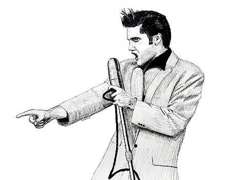 Elvis on Stage, 1956 by Ron Enderland