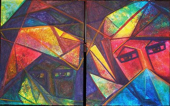 EMERALD AND RUBY Serie Triangulismos by Alicia Hernandez de Coll