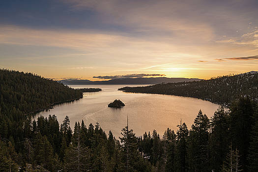 Emerald Bay on Lake Tahoe with snow on mountains by Steven Heap