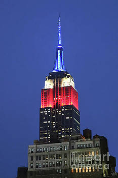 Empire State Building Lit in Red White and Blue Closeup by Nishanth Gopinathan