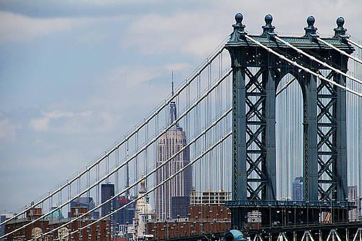 Empire State Building Manhattan Bridge by Donna Betancourt