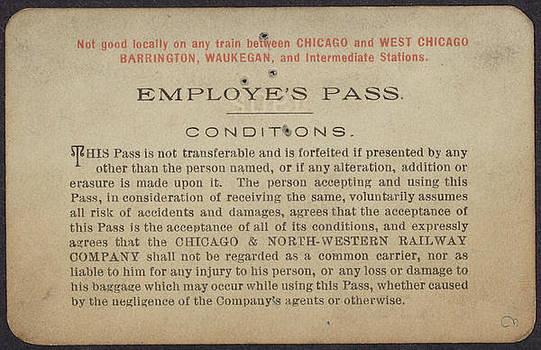 Chicago and North Western Historical Society - Employee Pass for Chicago and North Western