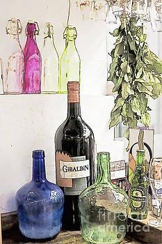 Heiko Koehrer-Wagner - Empty bottles and laurel bouquet still life