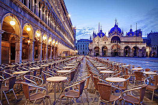 Empty Cafe on Piazza San Marco - Venice by Barry O Carroll