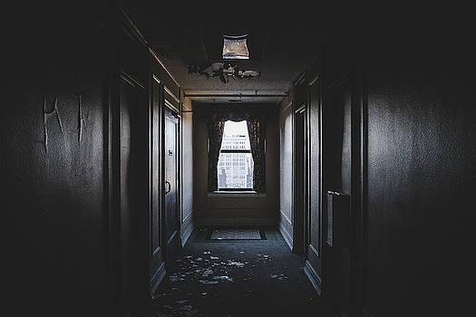 Empty Hallway In Abandoned Hotel by Dylan Murphy