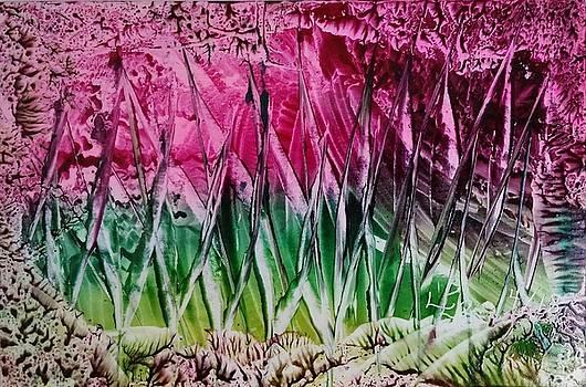 Encaustic abstract pinks greens by Lorraine Bradford