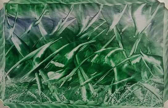 Encaustic green foliage with some blue by Lorraine Bradford