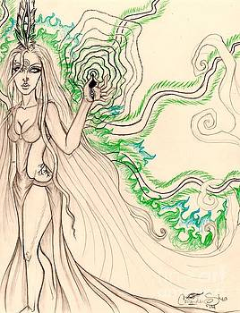 Enchanted By An Emerald Flame Sketch by Coriander Shea