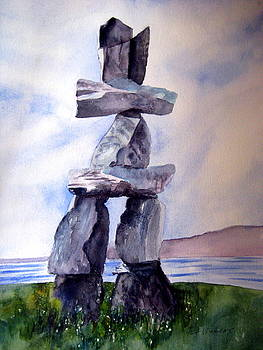 English Bay Inukshuk by Pat Vickers