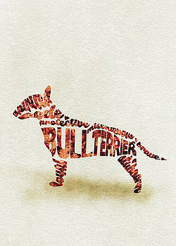 English Bull Terrier Watercolor Painting / Typographic Art by Ayse and Deniz