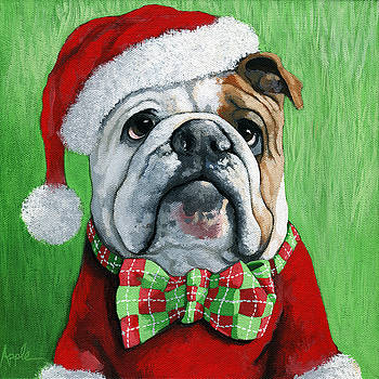 Holiday Cheer -English Bulldog Santa dog painting by Linda Apple