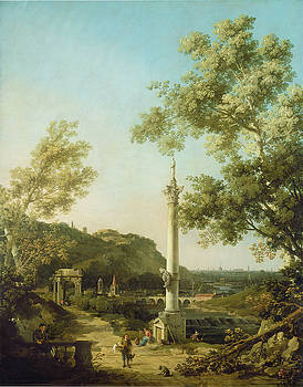 English Landscape Capriccio with a Column by Canaletto