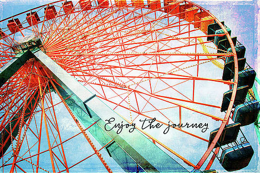 Enjoy the journey giant, colorful carnival ferris wheel  by Marcia Luce at Luceworks