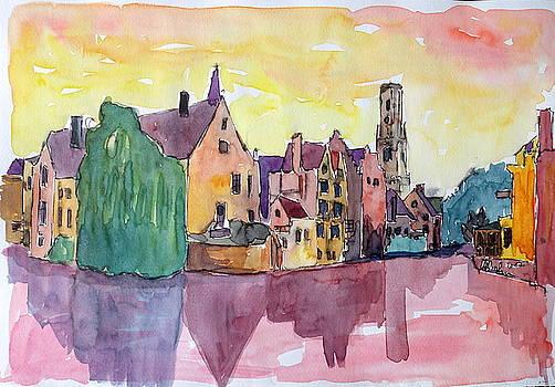 Enlighted Bruges Old Town in West Flanders Belgium - by M Bleichner