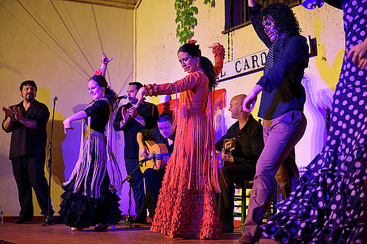 Reimar Gaertner - Ensemble of Flamenco artists on stage at Tablaos El Cardenal Cor