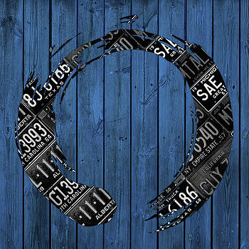 Design Turnpike - Enso Sign Made from Black Vintage Metal License Plates on Blue Wood Planks