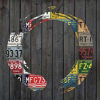 Design Turnpike - Enso Symbol Recycled Vintage Michigan License Plate Art