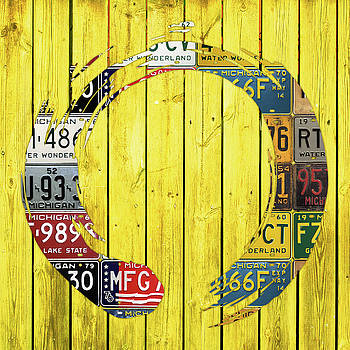 Design Turnpike - Enso Symbol Recycled Vintage Michigan License Plate Art on Yellow