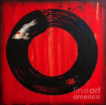 Enso with Koi Red and Gold by Sandi Baker