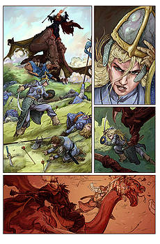 Eowyn vs. Nazgul pg 1 colored by Storn Cook