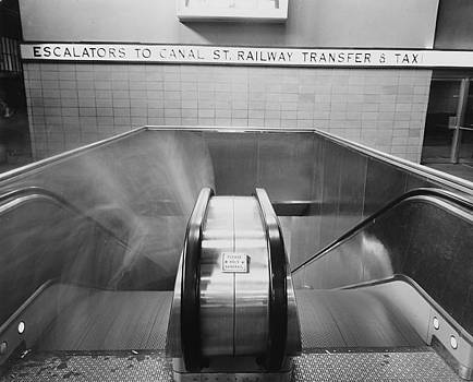 Chicago and North Western Historical Society - Escalators to Canal Street Railway Transfer at Chicago Passenger Terminal - 1961