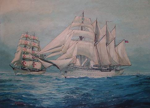Esmerelda and the Sagres Tall Ships by Perrys Fine Art