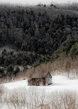Ethereal Barn in Winter by Liz Mackney