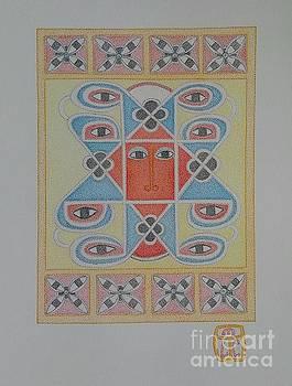 Ethiopian Cherub Talismen Scroll by Assumpta Tafari Tafrow Neo-Impressionist Works on Paper