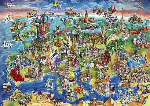Maria Rabinky - European World Wonders Illustrated Map