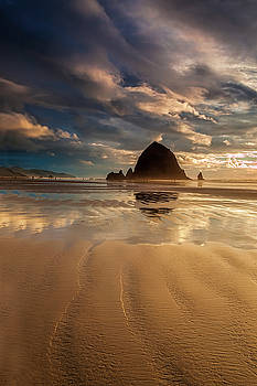 Evening at Haystack Rock by Andrew Soundarajan