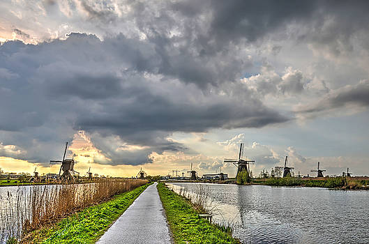 Evening at Kinderdijk by Frans Blok