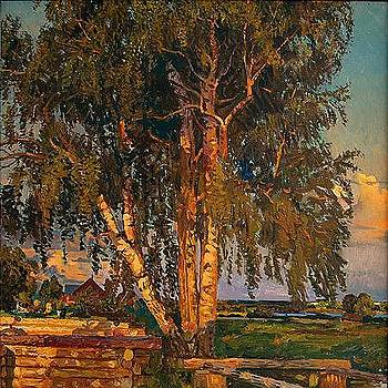 Evening in Shadriga Village by Nikolay Karacharov