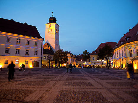 Evening in Sibiu's Grand Square by Rae Tucker