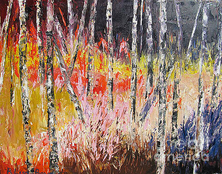 Evening in the Woods Pallet Knife Painting by Lisa Boyd