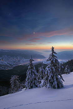 Evening in winter mountains by Sergey Ryzhkov