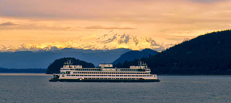Evening Mountain and Ferry by Rick Lawler